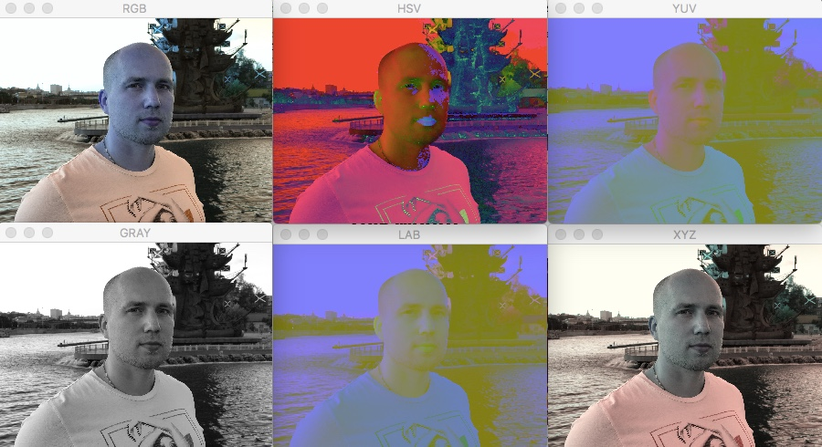 RGB, GRAY, YUV, LAB, HSV, XYZ в BGR